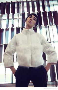 """Mercury Rising"" Tao Okamoto in Moncler Gamme Rogue cropped jacket for Bergdorf Goodman's Fall 2014"