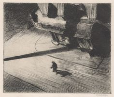 Edward Hopper (American, 1882–1967). Night Shadows, 1921. The Metropolitan Museum of Art, New York. Harriet Brisbane Dick Fund, 1925 (25.31.2) | In this print, the viewer is given a bird's-eye perspective of a city street corner. The setting that inspired Hopper was an actual location in New York. #newyork #nyc