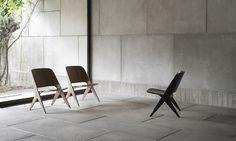 Chaise Lounge Lavitta en noyer ou chêne de Poiat. Sièges de détente design scandinave inspiré du mobilier traditionnel finlandais. Découvrez nos meubles scandinaves en ligne