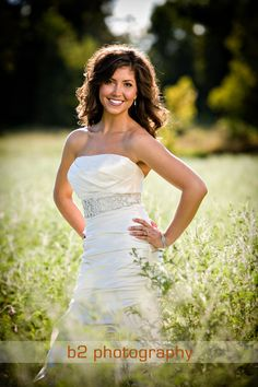 bridal portrait outdoor - like the field she's in and lighting