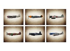 FLASH SALE til MIDNIGHT Vintage Wwii Airplanes by shawnstpeter