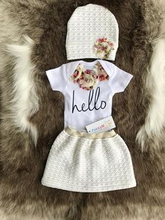 6ea1e478d96 Easter Spring Baby Girl flower Bodysuit and Hat. Newborn Easter outfit.  Take Home Outfit