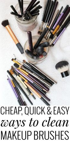 Confused on how to clean makeup brushes? Use items around the house! Save time and money! Cute storage ideas too! Makeup Brush Uses, How To Clean Makeup Brushes, Drugstore Makeup, Eyeshadow Makeup, Pink Eyeshadow, Eyeshadow Palette, Diy Beauty, Beauty Hacks, Beauty Tips