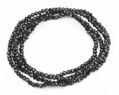 Super cool Lang elastisk halskæde med smukke sorte facetslebne krystal perler bitavant Modetøj til Damer til hverdag og fest
