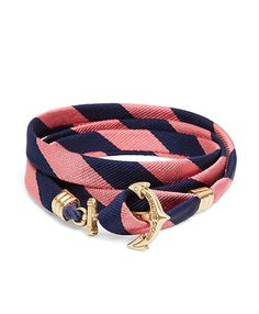 A Kiel James Patrick wrap bracelet combines our repp pattern with a trendy, nautical accessory #BBSpring2014 #RedFleece