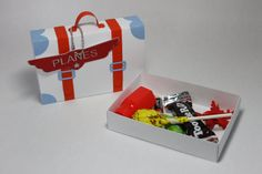 Suitcase Favor Box for Planes party by CraftsbyRosa on Etsy Planes Birthday, Planes Party, Airplane Party, 2nd Birthday, Birthday Parties, Transportation Party, Train Party, Diy Gift Box, Safari Party