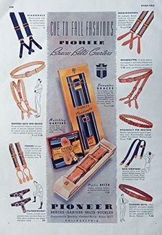 Men's Fashions, Vintage Print Ad. 30's Color Illustrations (Pioneer Garters, Belts, Buckles, Braces) Original Rare 1938 Esquire Magazine Art