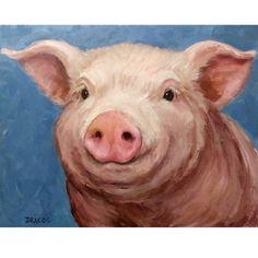 Pig Art 8x10 Print of Original Painting...the cutest little wilbur