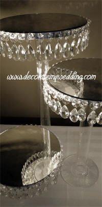 DECORATE MY WEDDING Crystal Pedestal Servers TRIO
