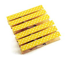 altered clothes pins | Altered Clothespin Clips Decorative Wooden Clothespins in Lemon Polka ...