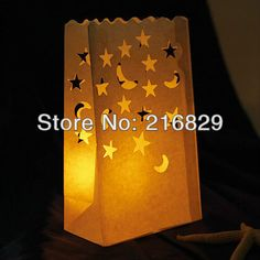 China post air mail free shipping wedding decorations Moon & Star Cut out Paper LuminaryCandle bags(Set of 4)-in Event & Party Supplies from Home & Garden on Aliexpress.com