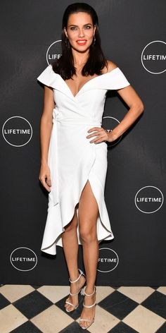 We're in love with Adriana Lima's look for the American Beauty Star premiere: a white off-the-shoulder wrap dress from alice + olivia by Stacey Bendet and a pair of strappy metallic heels. Adriana Lima Outfit, Adriana Lima Style, White Outfits For Women, Angel Outfit, Fashion Design Portfolio, Gala Dresses, Wrap Dresses, Fashion Dictionary, Fashion Figures