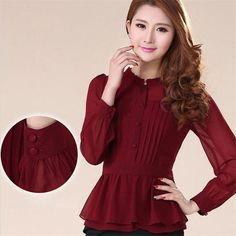 2017 Autumn Fashion Women Blouse Vintage Elegant Chiffon Ruffles Peplum Shirt OL Officewear Workwear Blusas Plus Size Tops
