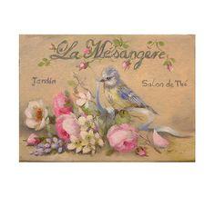 """Tea house and garden - La mésangère """" Rose, wild flowers & baby blue tit - Original oil  painting  Helen Flont"""