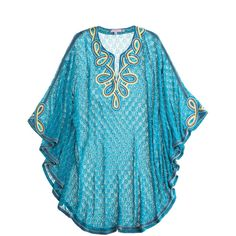 Calypso St. Barth Arella Caftan ($299) ❤ liked on Polyvore featuring tops, tunics, beachwear, blue, blusas, dresses, long poncho, caftan tops, calypso st. barth and kaftan tops