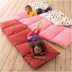 Love this idea! 5 pillow cases sew them together insert pillow and you have a pillow bed, great for naps and sleepovers!