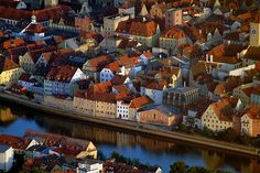 A view over the roofs of the historic town of Regensburg, Germany