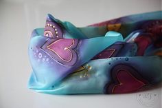 silk scarf with hearts - beautiful!!!