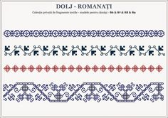 Motive traditionale romanesti - OLTENIA Blackwork Embroidery, Folk Embroidery, Cross Stitch Borders, Cross Stitch Patterns, Beading Patterns, Knitting Patterns, Romanian Lace, Beading Projects, Pixel Art