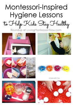 Montessori-Inspired Hygiene Lessons to Help Kids Stay Healthy What parent (or teacher) doesn't dread the cold and flu season for kids? Here you'll find lots of Montessori-inspired handwashing and other hygiene activities for home or classroom. Health Activities, Montessori Activities, Activities For Kids, Montessori Homeschool, Homeschooling, Group Activities, Preschool Ideas, Hygiene Lessons, Health Lessons