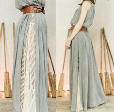 Peek-a-boo lace puts a classy spin on a split. Peek-a-boo lace puts a classy spin on a split. Mode Outfits, Skirt Outfits, Dress Skirt, Dress Up, Look Fashion, Hijab Fashion, Womens Fashion, Fashion Design, Moda Boho