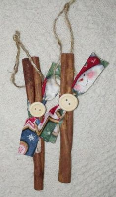 christmas rustic primitive cinnamon stick ornament with wood buttons ornaments