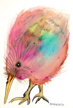 Bird art original drawing kiwi bird colorful nature by BIRDADAY