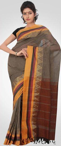 Grey and Deep Rust #Kanchivaram Cotton #Saree with #Blouse @ US $76.56