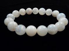 Rainbow Moonstone Stretch Bracelet 11mm  to 12mm Smooth Round Polished Blue Flash Gemstone Beads by SandiLaneFineArt on Etsy
