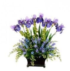 Blue and Lavender Iris and Wildflower Silk Flower Arrangement ARWF2961
