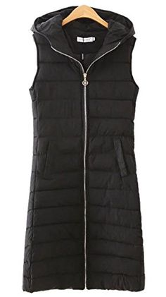 Lingswallow Womens Winter Long Slim Hooded Padded Vest Coat Jacket Black >>> Read more reviews of the product by visiting the link on the image. (Note:Amazon affiliate link)