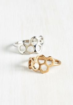 Honeycomb and Get It Ring Set. If charm is what you seek, look no further than this honeycomb ring set! #gold #modcloth