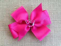 Princess Crown Hair Bow Pink Crown Bow by RosieMaeBowtique on Etsy, $2.00