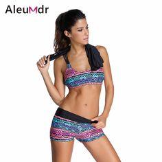 c0ce4f271b3 Tankini with shorts plus size push up Bikini Set 3 pcs