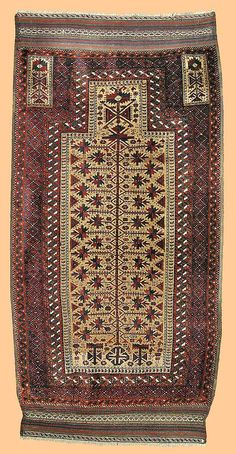 Baluch Rugs: Jan Begi Baluch tree-of-life prayer rug Persia second half 19th C Lot 157