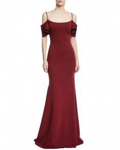 b18e4851932 Shop Trumpet Gown w  V-Back Ruffle Overlay from Jovani at Neiman Marcus  Last Call