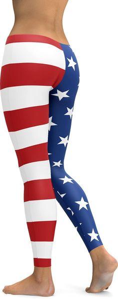 American Flag Stars, American Pride, Blue Leggings, Striped Leggings, 100 Squats, Custom Leggings, Gym Wear, Cool Style, Active Wear