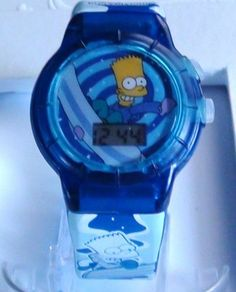 Bart Simpson Watch with a talk button on the side push and talks Vinta | Vintageartjewelry - Jewelry on ArtFire