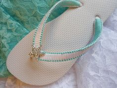 Beach wedding flip flops in macrame
