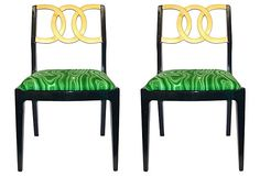 Vintage Black and Gold Malachite Patterned Chairs, from OneKingsLane.com