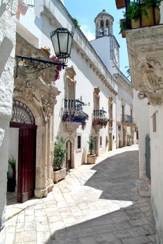 Ancient streets of Locorotondo, Italy ♥