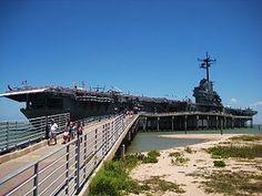 US Navy aircraft carrier USS Lexington anchored at Corpus Christi Bay, Texas