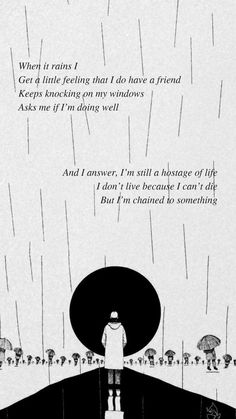 Forever rain by BTS RM '' When it rains I feel that I have a friend Who keeps hitting . Bts Song Lyrics, Bts Lyrics Quotes, Rain Quotes, Bts Qoutes, Drake Lyrics, Music Lyrics, Movie Quotes, Bible Quotes, Bts Wallpaper Lyrics