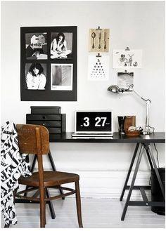 desk - chair - black - bureau