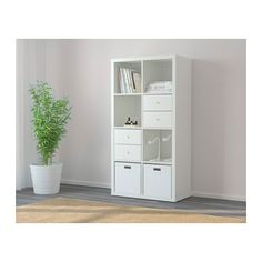KALLAX Shelving unit - white - IKEA - w/birch drawer/door inserts