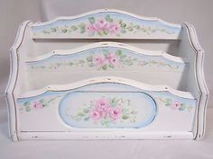 ROMANTIC ROSE ORGANIZER hp chic shabby vintage cottage hand painted wood garden | Home & Garden, Home Décor, Other Home Décor | eBay!