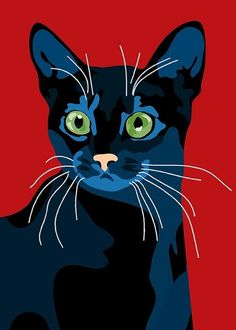 Cats in Art and Illustration: Sebastiano Ranchetti & Laura Ottina. Pop Art, Gatos Cat, Black Cat Art, Black Cats, Cat Quilt, Cat Drawing, Crazy Cats, Cool Cats, Pet Portraits