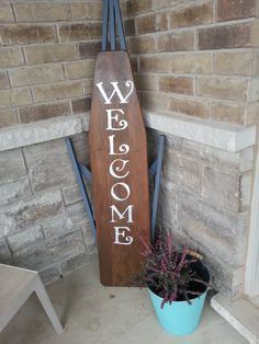 Antique Wooden Ironing Board Welcome Sign                                                                                                                                                                                 More