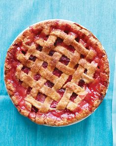 Rhubarb-Strawberry Lattice Pie - Martha Stewart Recipes >>> Using leaf pie crust (see pin board)