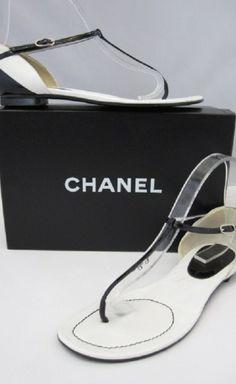 Chanel Black And White Flat Sandal